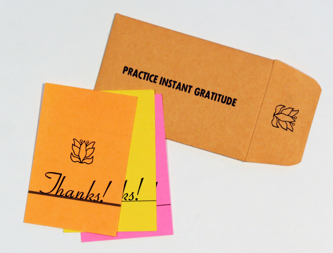 a set of practice instant gratitude thank you cards